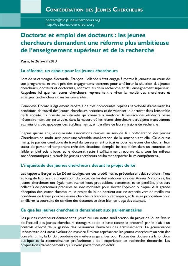 CONFÉDÉRATION DES JEUNES CHERCHEURScontact@cjc.jeunes-chercheurs.orghttp://cjc.jeunes-chercheurs.orgDoctorat et emploi des...