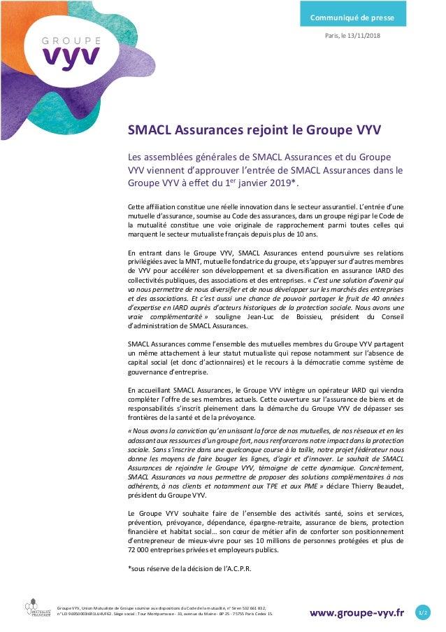 Groupe VYV, Union Mutualiste de Groupe soumise aux dispositions du Code de  la mutualité, SMACL Assurances rejoint le Groupe ... 2aa6e7efc266