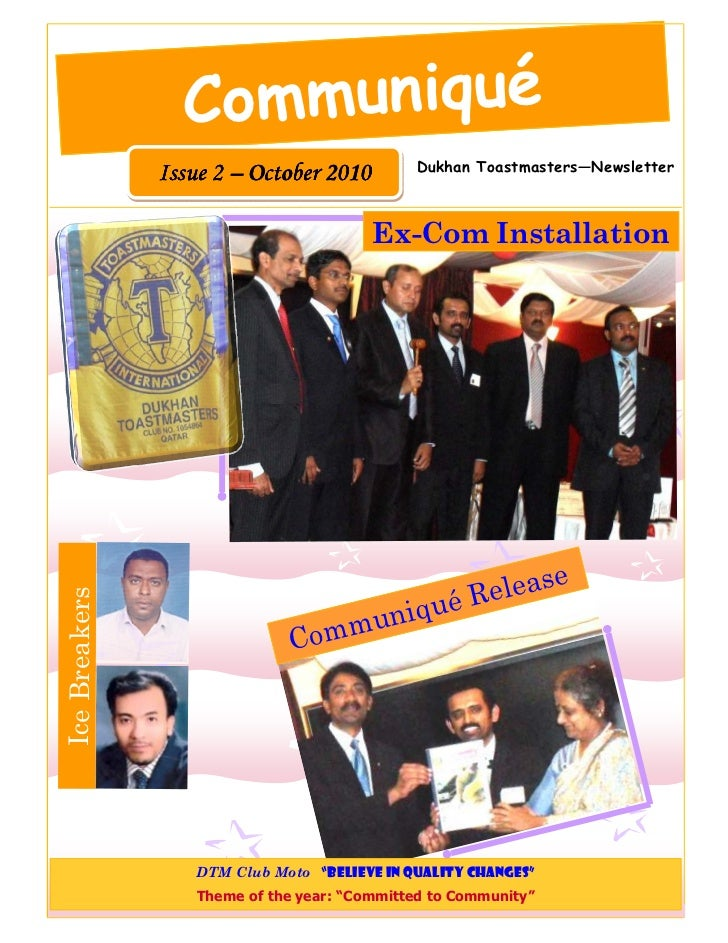 Communiqué                                              Dukhan Toastmasters—Newsletter               Issue 2 – October 201...