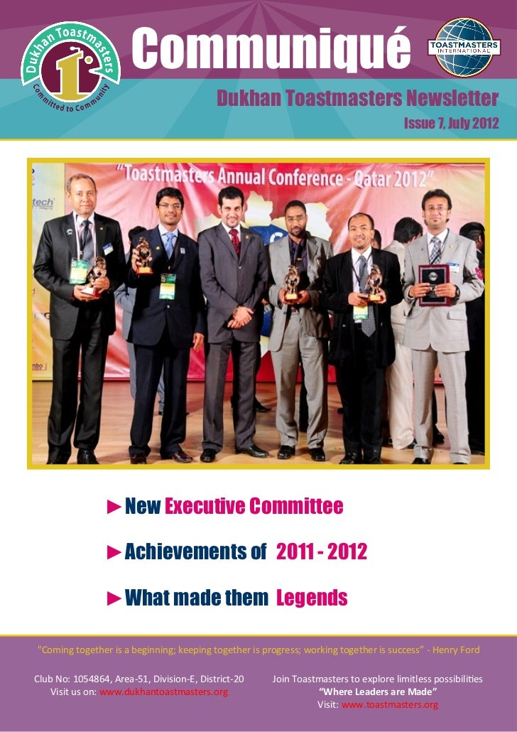 Communiqué                                           Dukhan Toastmasters Newsletter                                       ...