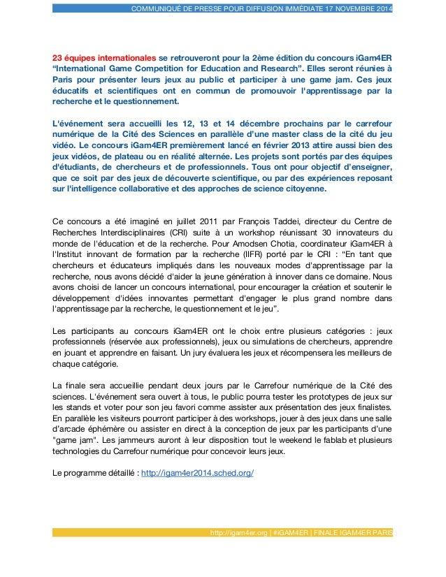 COMMUNIQUÉ DE PRESSE POUR DIFFUSION IMMÉDIATE 17 NOVEMBRE 2014 23 équipes internationales se retrouveront pour la 2ème édi...