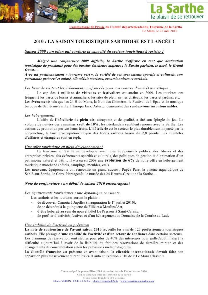 Communiqué de Presse du Comité départemental du Tourisme de la Sarthe                                                     ...