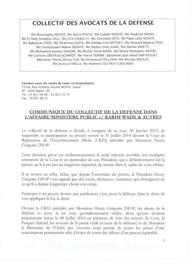 Communiqué du collectif de la défense dans l'affaire ministere public vs Karim Wade & autres