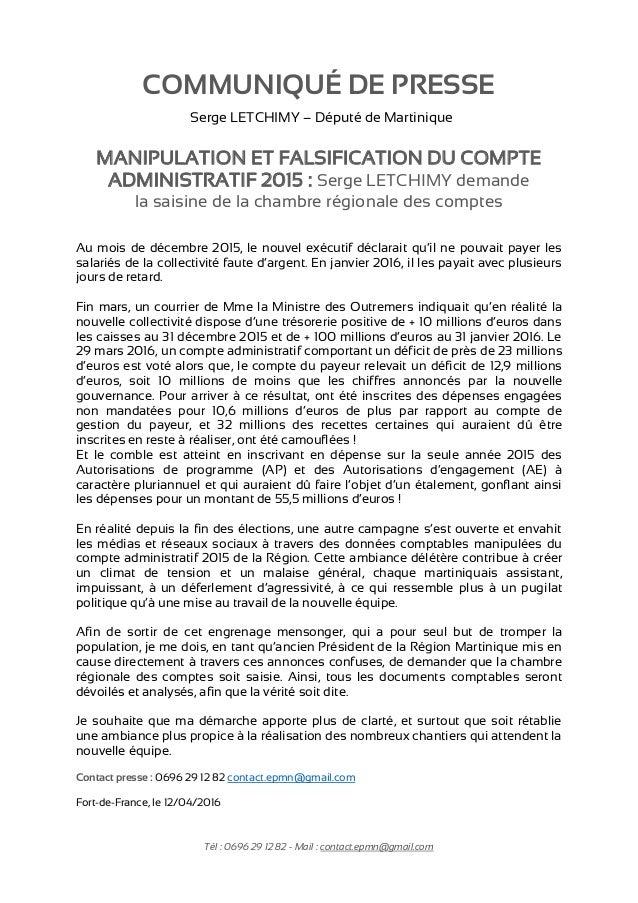Tél : 0696 29 12 82 - Mail : contact.epmn@gmail.com MANIPULATION ET FALSIFICATION DU COMPTE ADMINISTRATIF 2015 : Serge LET...
