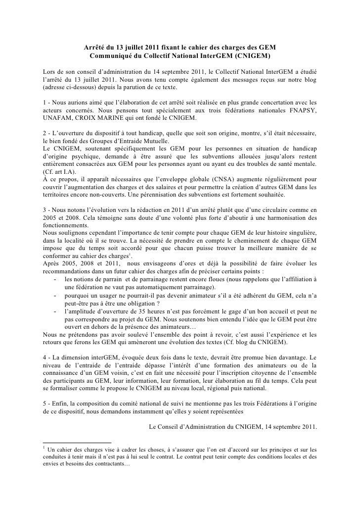 Arrêté du 13 juillet 2011 fixant le cahier des charges des GEM                  Communiqué du Collectif National InterGEM ...