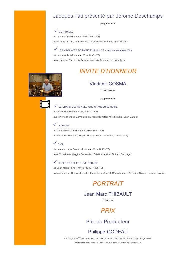 Jacques Tati présenté par Jérôme Deschamps                                                  programmation      MON ONCLE d...
