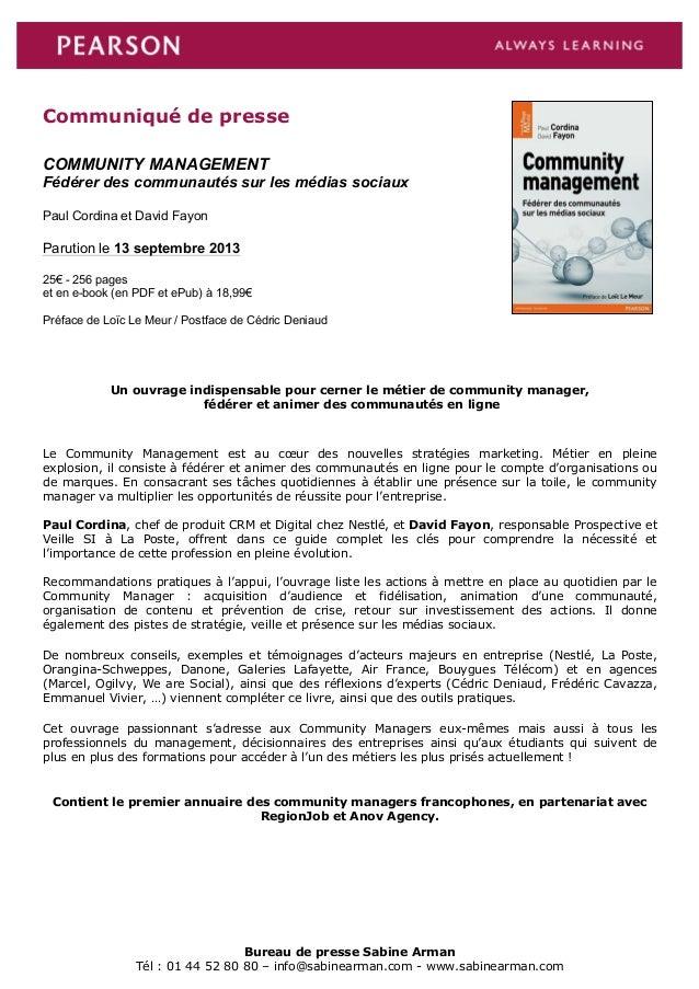Bureau de presse Sabine Arman Tél : 01 44 52 80 80 – info@sabinearman.com - www.sabinearman.com Communiqué de presse COMMU...