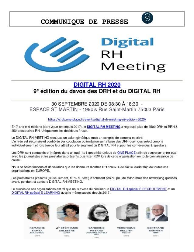 COMMUNIQUE DE PRESSE DIGITAL RH 2020 9e édition du davos des DRH et du DIGITAL RH 30 SEPTEMBRE 2020 DE 08:30 À 18:30 - ESP...
