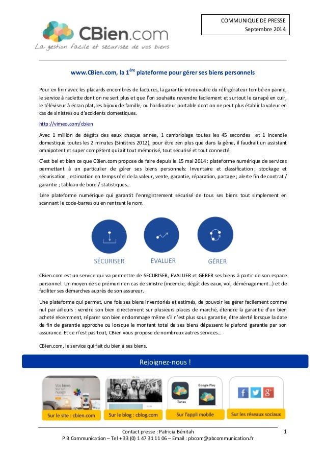 Contact  presse  :  Patricia  Bénitah  COMMUNIQUE  DE  PRESSE  Septembre  2014  P.B  Communication  –  Tel  +  33  (0)  1 ...