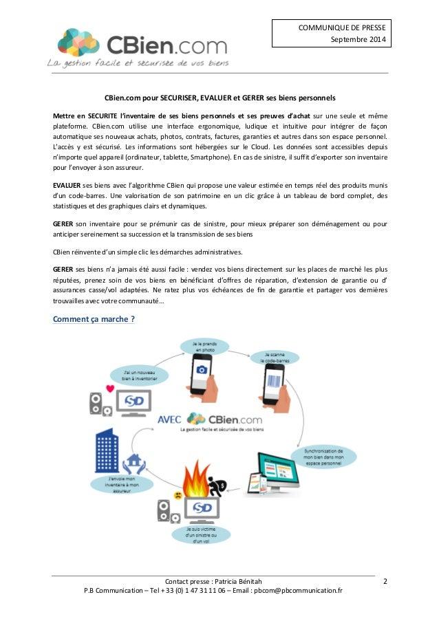 Contact  presse  :  Patricia  Bénitah  COMMUNIQUE  DE  PRESSE  Septembre  2014  P.B  Communication  –  Tel  +  33  (0)  1 ...