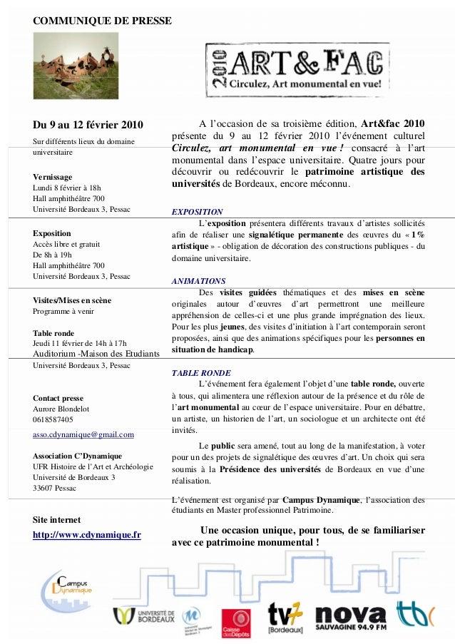 COMMUNIQUE DE PRESSE Du 9 au 12 février 2010 Sur différents lieux du domaine universitaire Vernissage Lundi 8 février à 18...