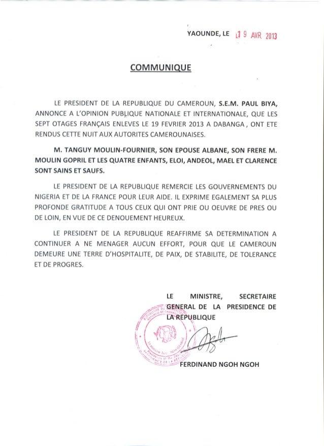 Communiqué prc libération otages français #KidnapCmr