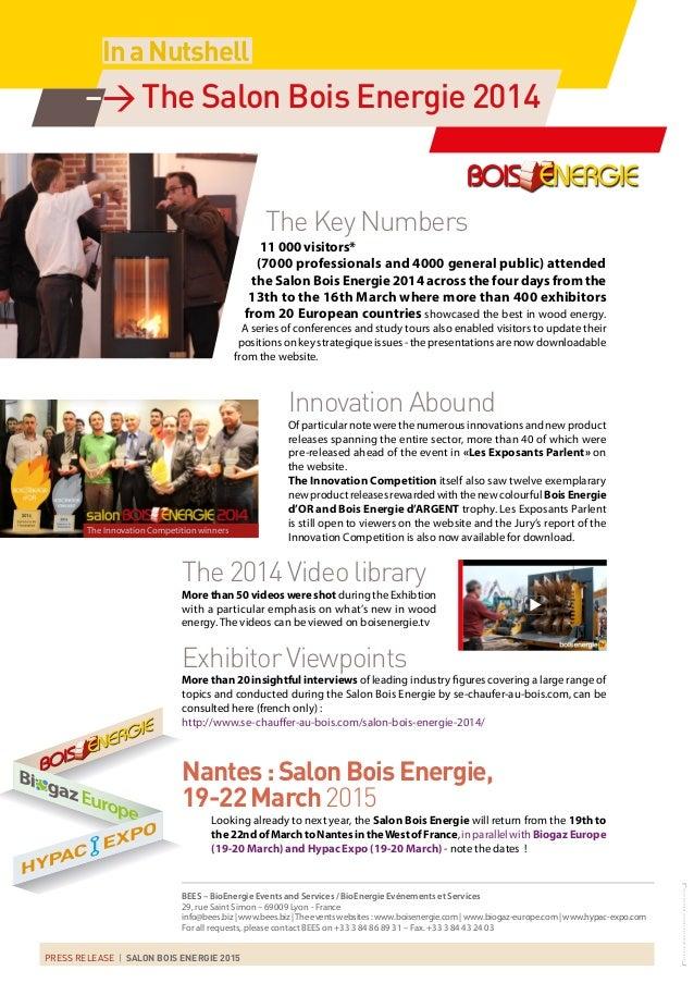 Press Release Salon Bois Energie 2014, Saint-Etienne