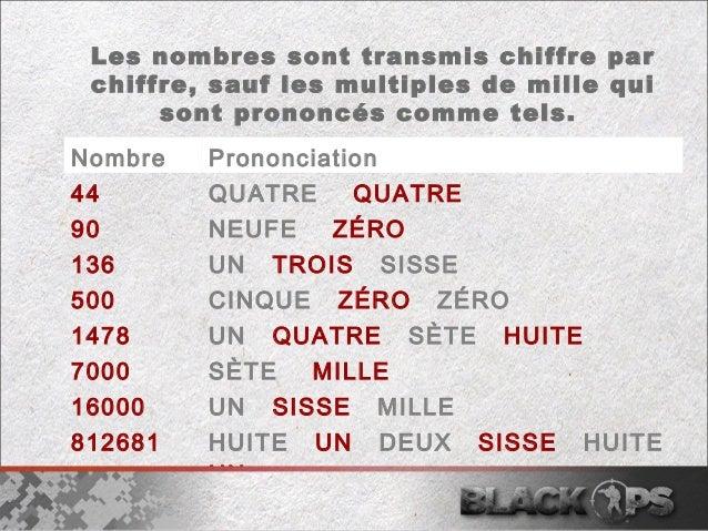Les nombres sont transmis chiffre par  chiffre, sauf les multiples de mille qui  sont prononcés comme tels.  Nombre Pronon...