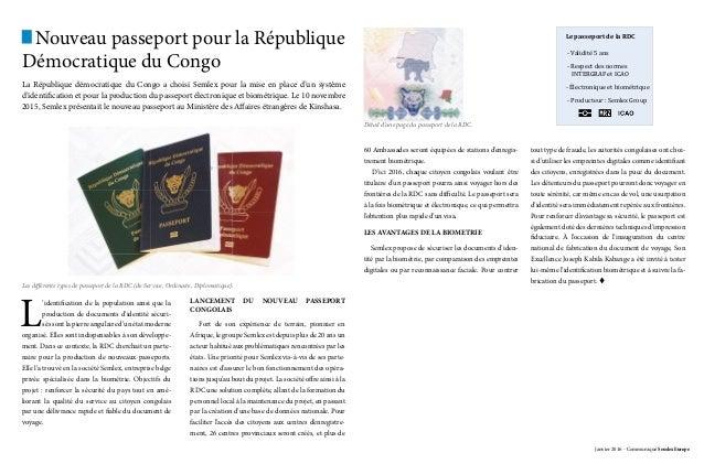 Nouveau passeport pour la République Démocratique du Congo La République démocratique du Congo a choisi Semlex pour la mis...