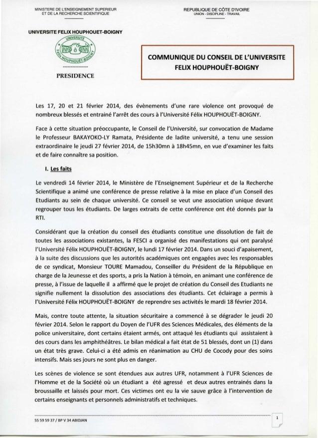 MINISTERE DE L'ENSEIGNEMENT SUPERIEUR ET DE LA RECHERCHE SCIENTIFIQUE  REPUBLIQUE DE CÔTE D'IVOIRE UNION - DISCIPLINE - TR...
