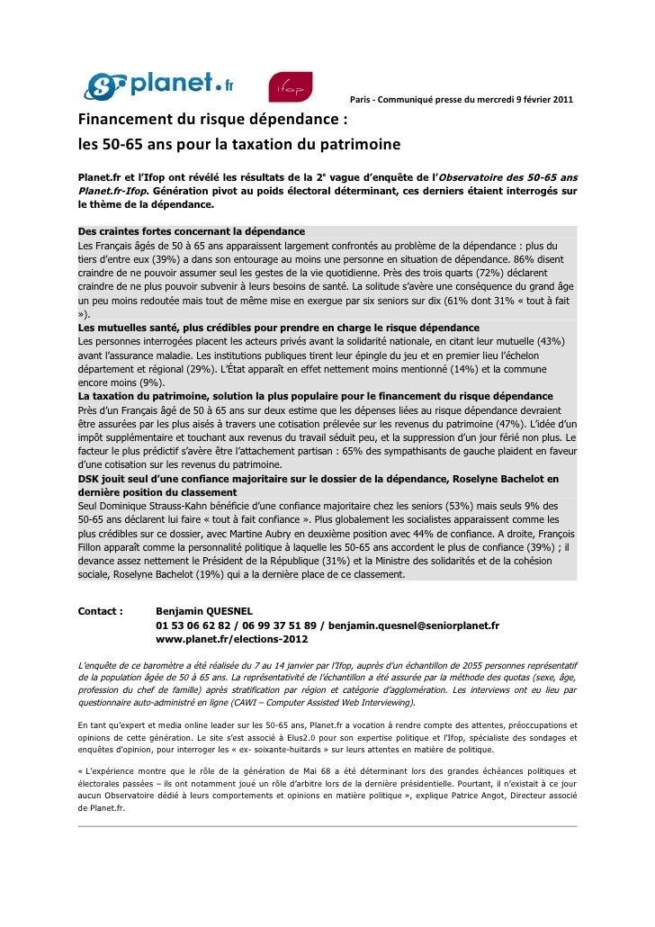 Paris - Communiqué presse du mercredi 9 février 2011Financement du risque dépendance :les 50-65 ans pour la taxation du pa...