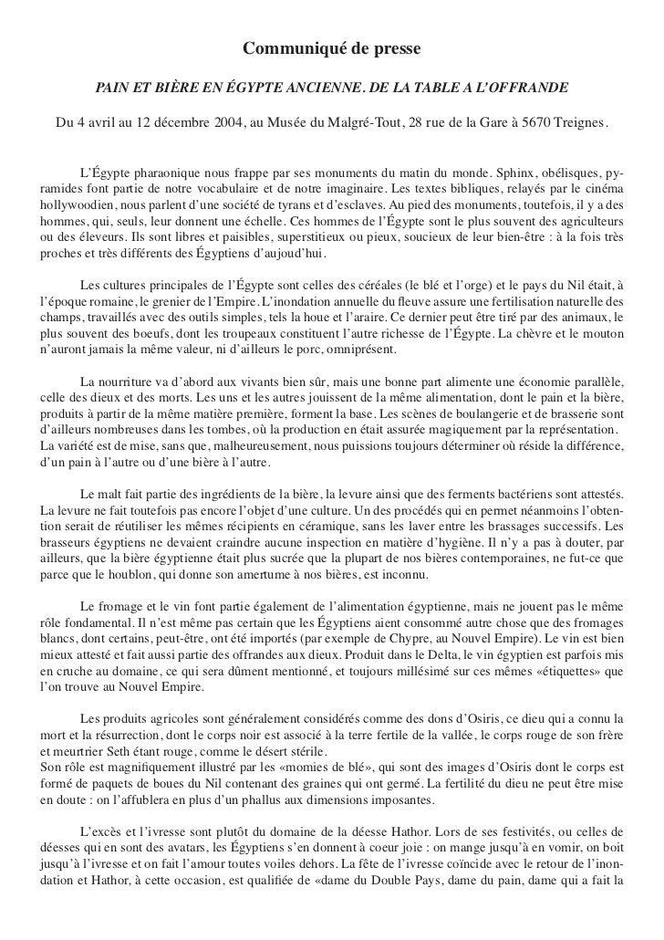 Communiqué de presse           PAIN ET BIÈRE EN ÉGYPTE ANCIENNE. DE LA TABLE A L'OFFRANDE   Du 4 avril au 12 décembre 2004...
