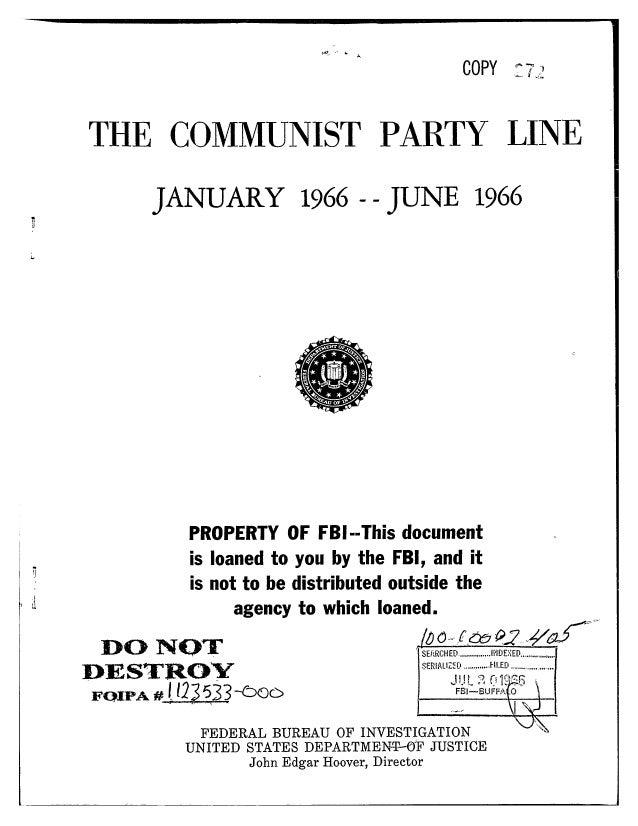 Communist party line   fbi file series in 25 parts - vol. (25)