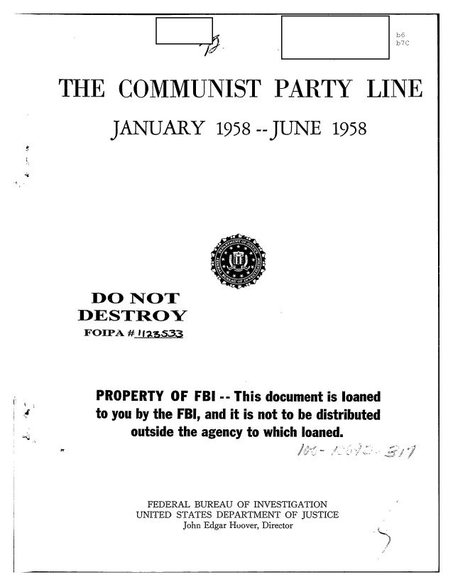 Communist party line   fbi file series in 25 parts - vol. (9)