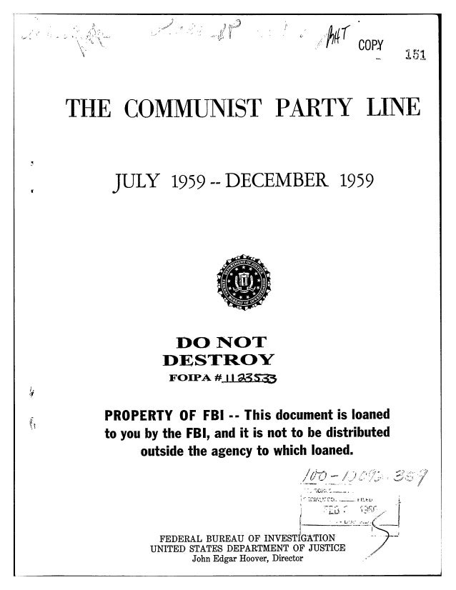 Communist party line   fbi file series in 25 parts - vol. (12)