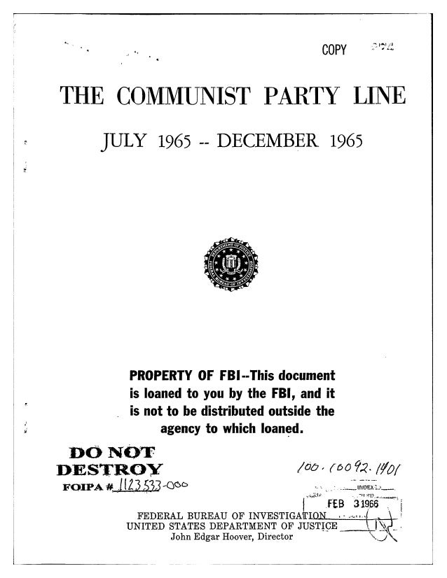 Communist party line   fbi file series in 25 parts - vol. (24)