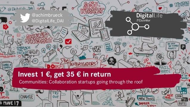 Invest 1 €, get 35 € in return 1 Communities: Collaboration startups going through the roof @achimbrueck @DigitalLife_DAI