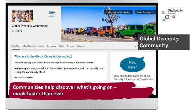 Communities help discover what's going on – much faster than ever Global Diversity Community
