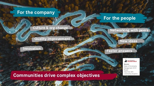 Culture & org change Quality improvement Innovation Faster answers New ideas Networking with peers For the company For the...