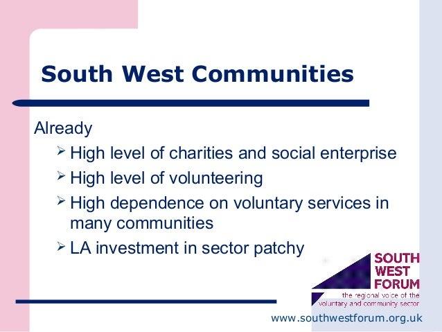 www.southwestforum.org.uk South West Communities Already  High level of charities and social enterprise  High level of v...
