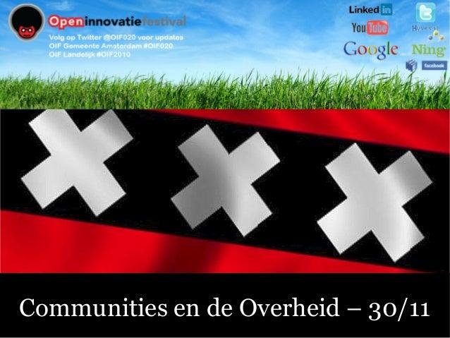 Communities en de Overheid – 30/11
