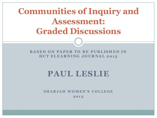 Communities of Inquiry and      Assessment:   Graded Discussions  BASED ON PAPER TO BE PUBLISHED IN     HCT ELEARNING JOUR...