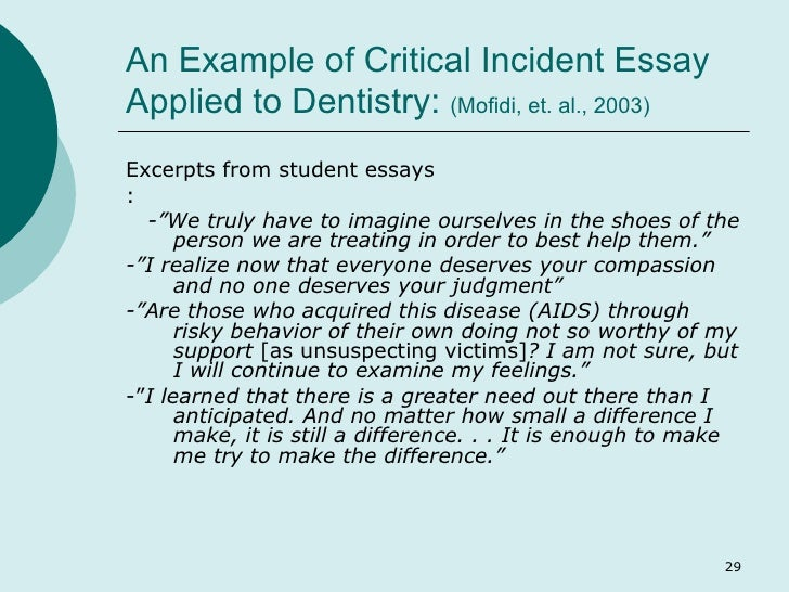 community based learning  29 an example of critical incident essay