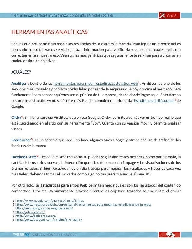 Herramientas para crear y organizar contenido en redes sociales                                   Cap. 3tráfico desde la r...