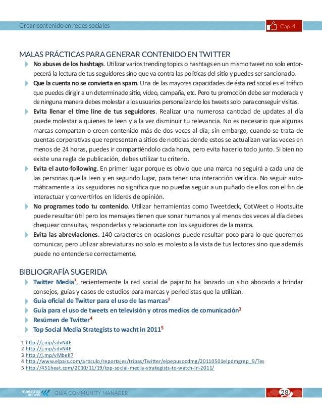 Crear contenido en redes sociales                                                               Cap. 4CASOS DE ESTUDIOGUÍA...