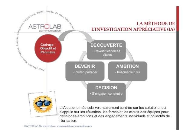 LA MÉTHODE DE                                                          L'INVESTIGATION APPRÉCIATIVE (IA)          ...