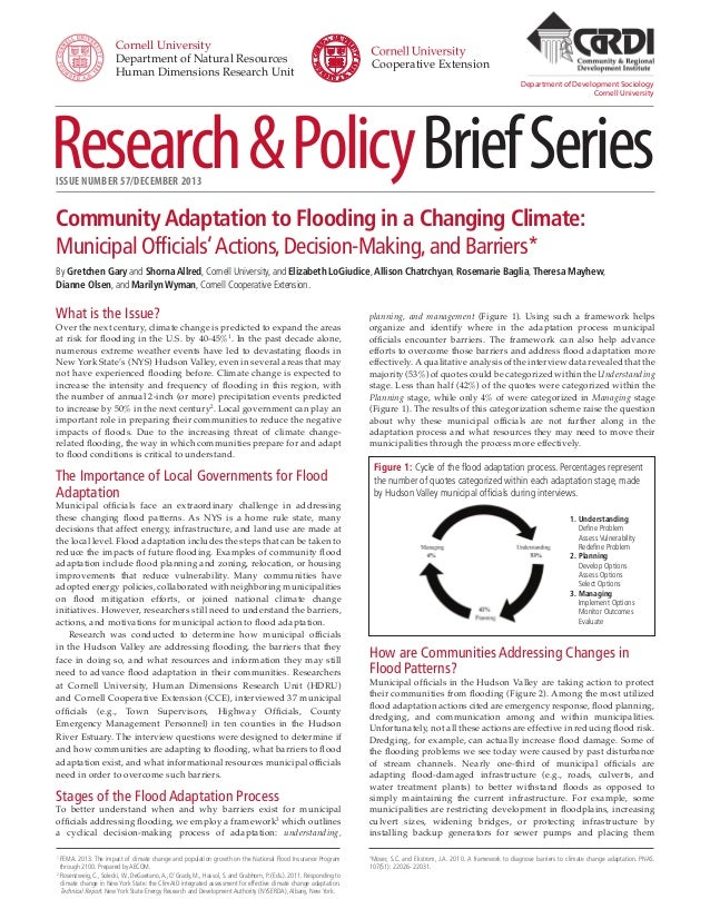 Research&PolicyBriefSeriesISSUE NUMBER 57/DECEMBER 2013 Department of Development Sociology Cornell University planning, a...