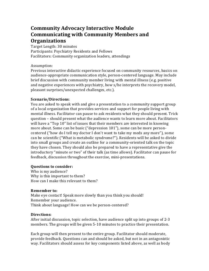 Community Advocacy Interactive ModuleCommunicating with Community Members andOrganizationsTarget Length: 30 minutesPartici...