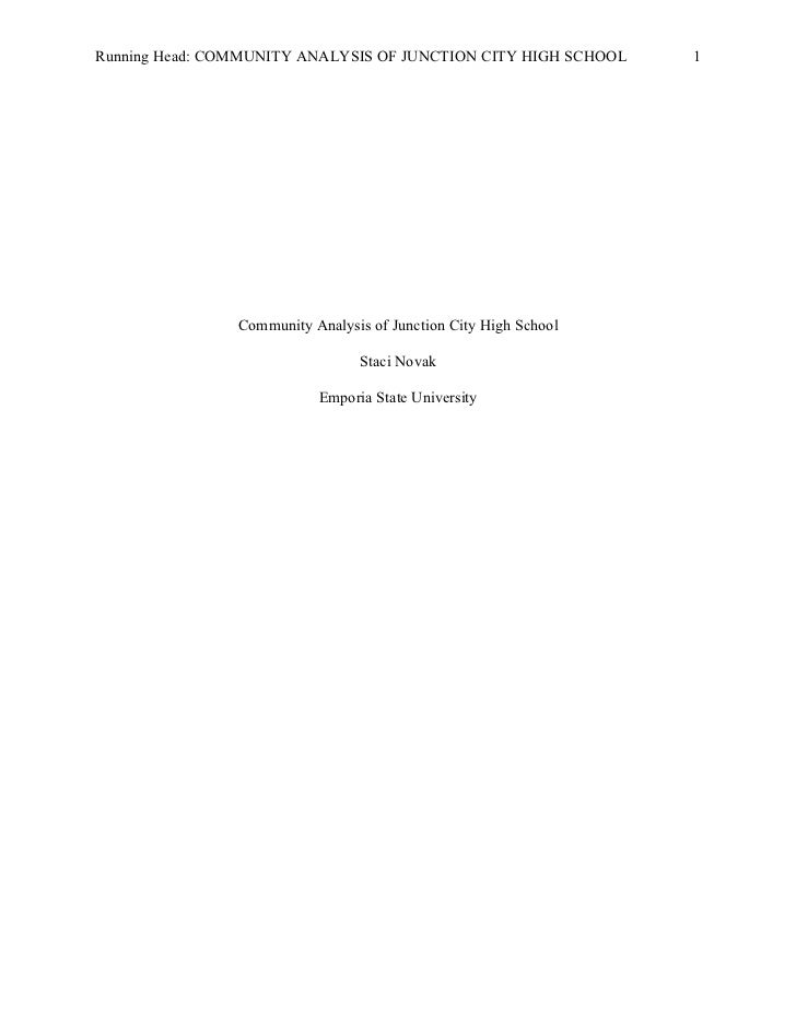 Running Head: COMMUNITY ANALYSIS OF JUNCTION CITY HIGH SCHOOL     1                Community Analysis of Junction City Hig...