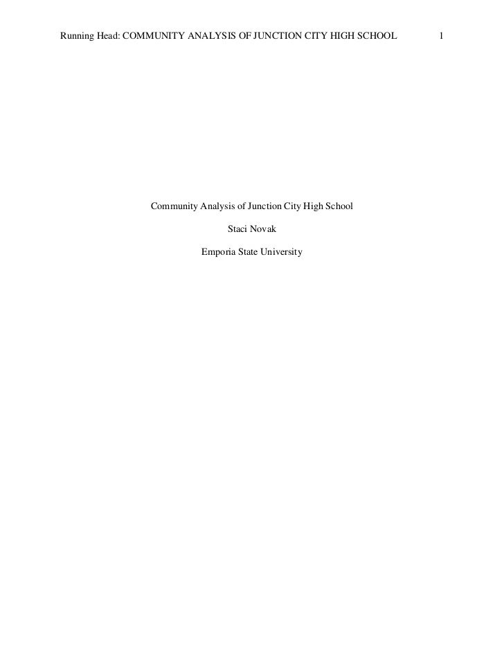 Running Head: COMMUNITY ANALYSIS OF JUNCTION CITY HIGH SCHOOL     1                Community Analysis of Junction City Hig...