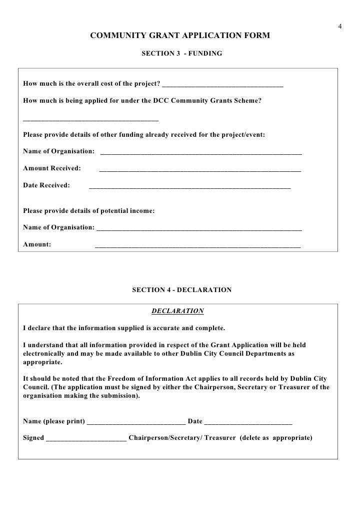 Community And Enterprise Department Community Grant Application Form