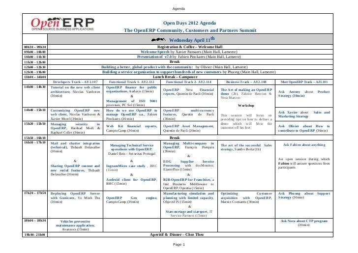 Agenda                                                                              Open Days 2012 Agenda                 ...