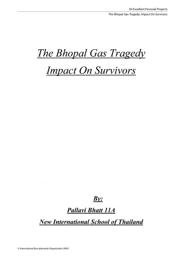 50 Excellent Personal Projects                                                  The Bhopal Gas Tragedy: Impact On Survivor...