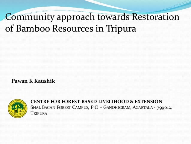 Community approach towards Restoration of Bamboo Resources in Tripura CENTRE FOR FOREST-BASED LIVELIHOOD & EXTENSION SHAL ...
