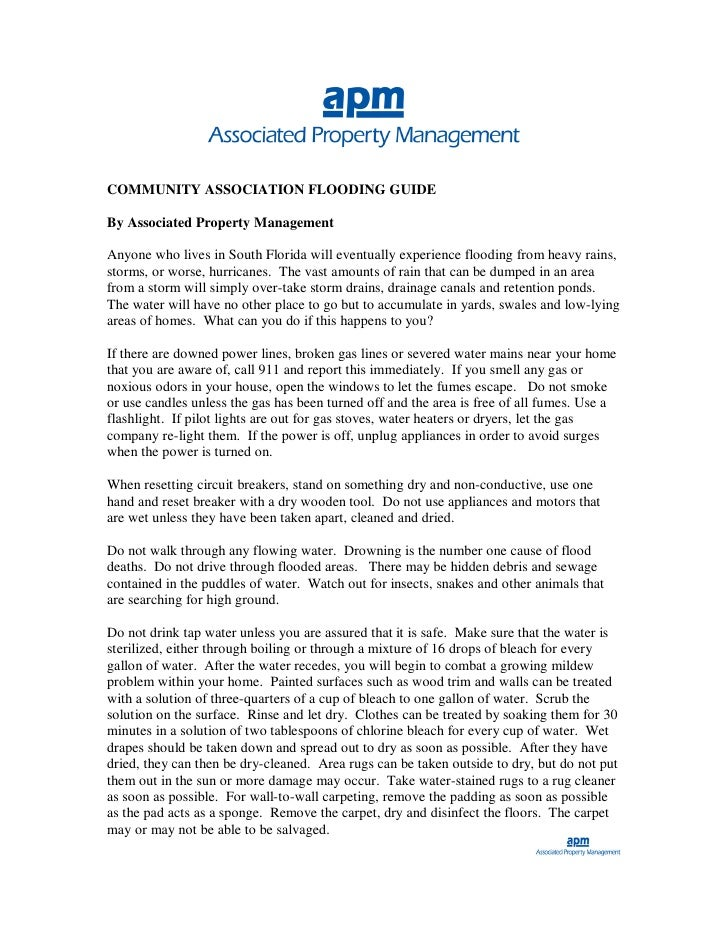 COMMUNITY ASSOCIATION FLOODING GUIDE  By Associated Property Management  Anyone who lives in South Florida will eventually...