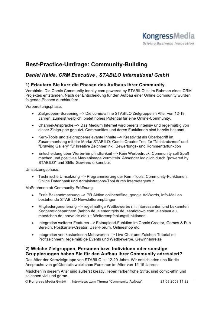 Best-Practice-Umfrage: Community-Building Daniel Haida, CRM Executive , STABILO International GmbH 1) Erläutern Sie kurz d...