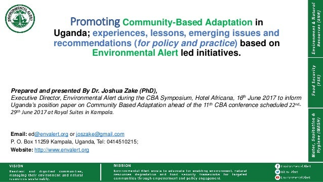 Promoting Community-Based Adaptation in Uganda; experiences, lessons, emerging issues and recommendations (for policy and ...