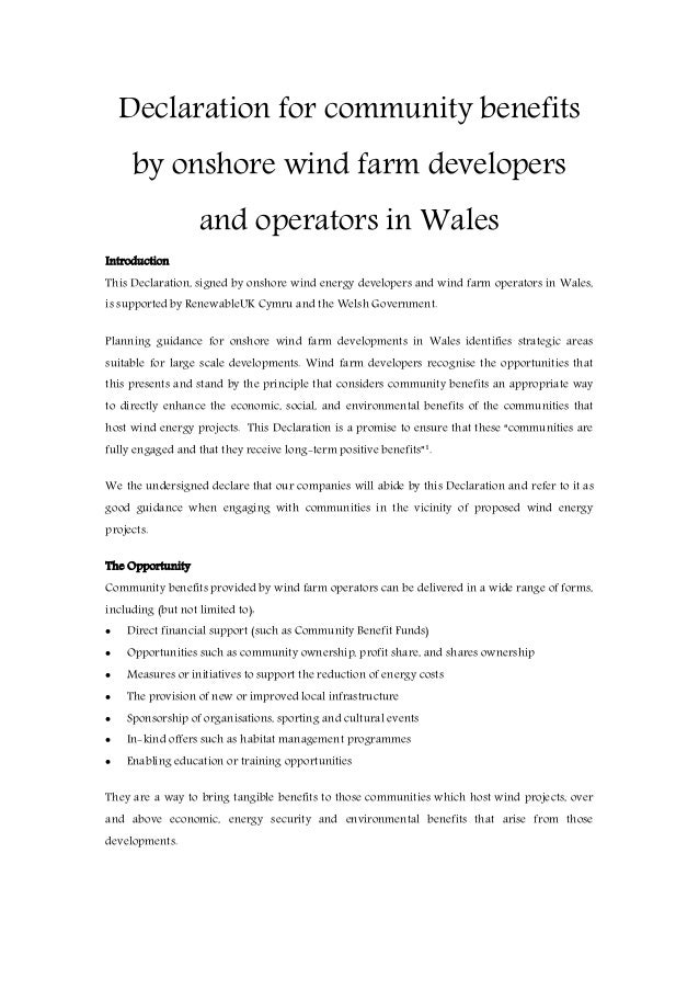 Declaration for community benefitsby onshore wind farm developersand operators in WalesIntroductionThis Declaration, signe...