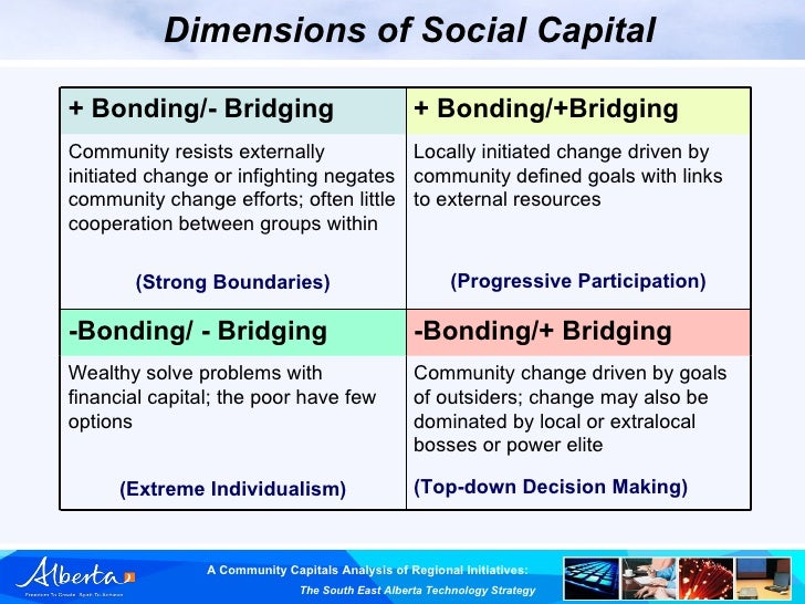 "bridging and bonding Bridging and bonding: ethnic background and voluntary association activity in canada edward grabb, monica hwang, robert  the implications of these results for understanding the ""bridging"" and ""bonding"" roles of voluntary associations in canadian society are briefly discussed."