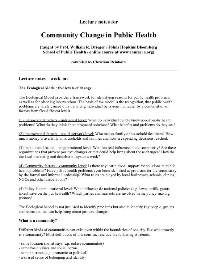 Lecture notes for              Community Change in Public Health              (taught by Prof. William R. Brieger / Johns ...